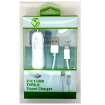 2 in 1 Type C Rapid Car Charger White